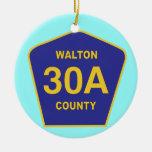 Sinal da estrada 30A o Condado de Walton Florida Enfeite De Natal