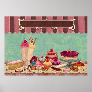 Sinal da loja da padaria do Patisserie do cupcake Posters