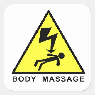 Sinal da massagem do corpo adesivo quadrado
