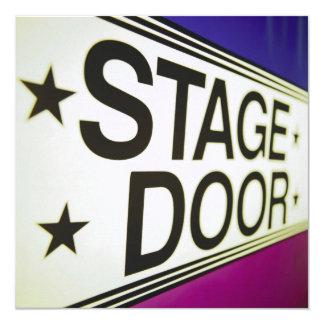 Sinal da porta de palco do teatro convite quadrado 13.35 x 13.35cm