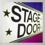 Sinal da porta de palco do teatro impressão