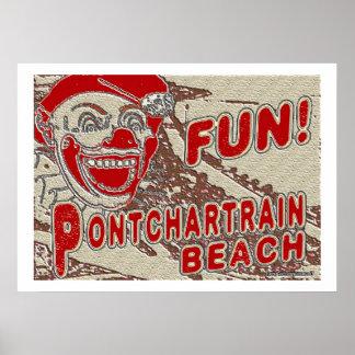 Sinal da praia de Pontchartrain do estilo antigo Pôster
