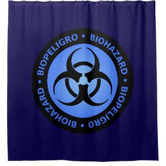 Sinal de aviso azul do Biohazard Cortina Para Box