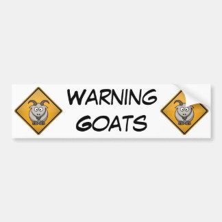 Sinal de aviso da cabra dos desenhos animados adesivo para carro