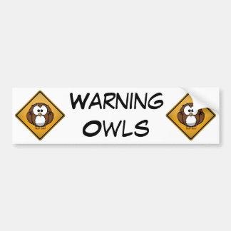 Sinal de aviso da coruja dos desenhos animados adesivo para carro