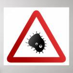 Sinal de aviso das bactérias poster
