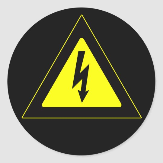 Sinal de aviso de alta tensão adesivo redondo