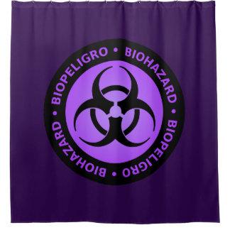 Sinal de aviso roxo do Biohazard Cortina Para Chuveiro