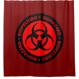 Sinal de aviso vermelho do Biohazard Cortina Para Box