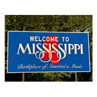 Sinal de boas-vindas de Mississippi Cartão Postal