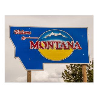 Sinal de boas-vindas de Montana - beira de Montana Cartões Postais