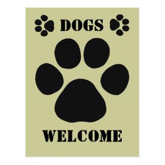 Sinal de boas-vindas dos cães cartão postal