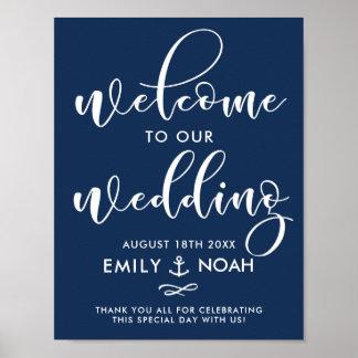 Sinal de boas-vindas náutico do casamento do pôster
