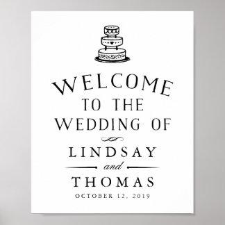 Sinal de boas-vindas Wedding ilustrado vintage Pôster