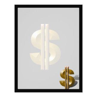 Sinal de dólar do ouro panfletos personalizado