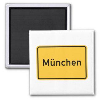 Sinal de estrada de Munich, Alemanha Ímã Quadrado