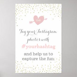 Sinal de Hashtag das fotos do casamento dos Pôster
