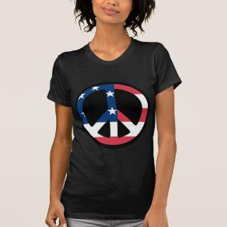 sinal de paz - bandeira dos EUA T-shirts