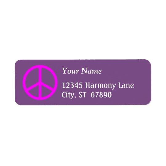 Sinal de paz cor-de-rosa na etiqueta de endereço