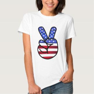 Sinal de paz da bandeira dos EUA América Tshirts