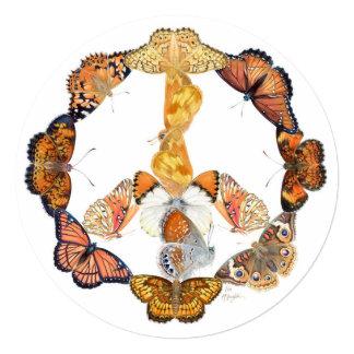 Sinal de paz da borboleta convite quadrado 13.35 x 13.35cm
