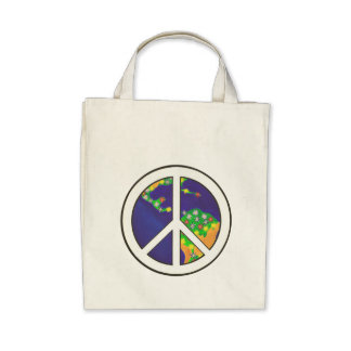 Sinal de paz da terra do planeta sacolas bolsa para compras