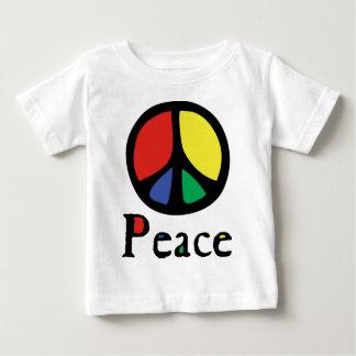Sinal de paz de fluxo colorido camiseta para bebê