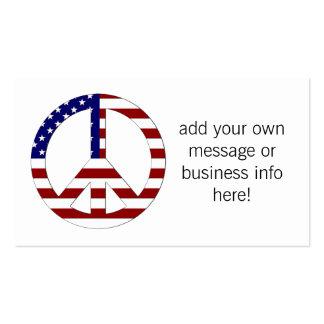 Sinal de paz EUA da bandeira americana Cartão De Visita