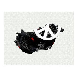 Sinal de paz na moda de Hungria com mapa húngaro Cartão Postal
