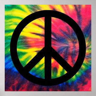 Sinal de paz preto tingido laço poster