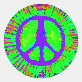 Sinal de paz psicadélico abstrato da Laço-Tintura Adesivos Redondos
