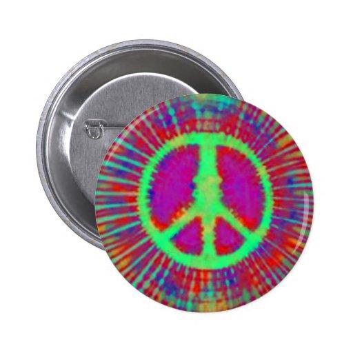 Sinal de paz psicadélico abstrato da Laço-Tintura Botons