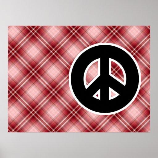 Sinal de paz vermelho da xadrez impressão
