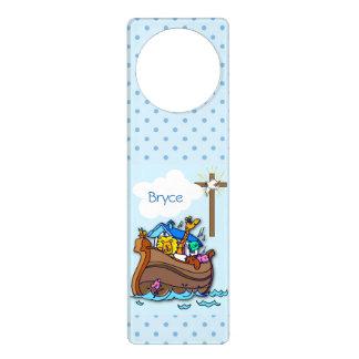 Sinal De Porta Baptismo da arca de Noah, azul do menino