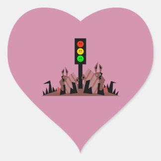 Sinal de trânsito temperamental com coelhos adesivo coração