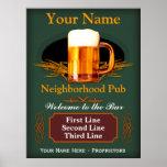 Sinal do bar da vizinhança (personalizado) posteres