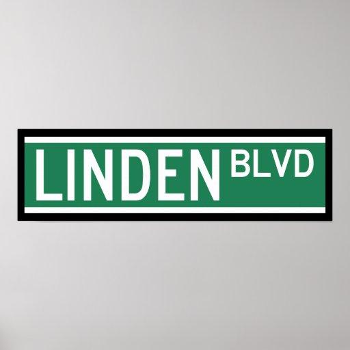 Sinal do bulevar do Linden Poster