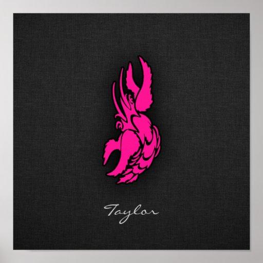 Sinal do cancer do zodíaco do rosa quente posters