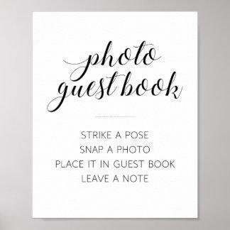 Sinal do casamento do livro de hóspedes da foto - pôster