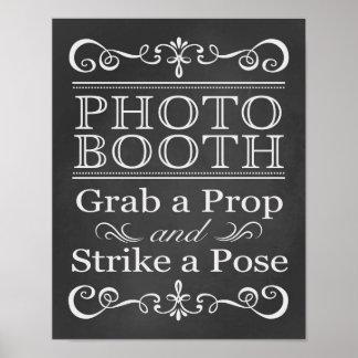 Sinal do casamento do quadro da cabine da foto pôster