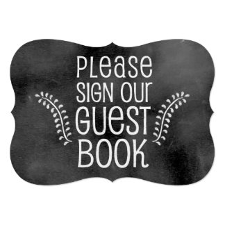Sinal do casamento do quadro: Guestbook do sinal Convite 12.7 X 17.78cm