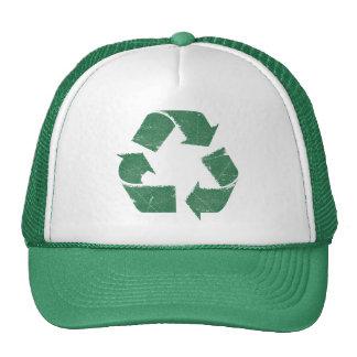 Sinal do reciclar do verde do vintage boné
