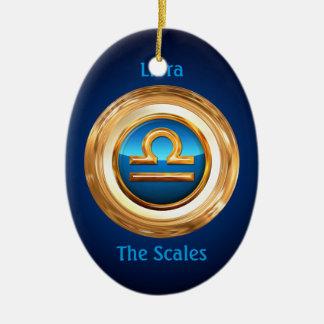 Sinal do zodíaco de Libra The Scales Ornamento De Cerâmica Oval