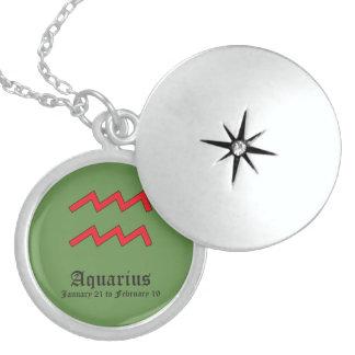 Sinal do zodíaco do Aquário Colar Medalhão