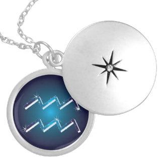 sinal do zodíaco do aquarius colar medalhão