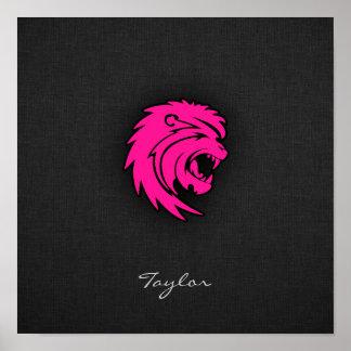 Sinal do zodíaco do leão de Leo do rosa quente Posters