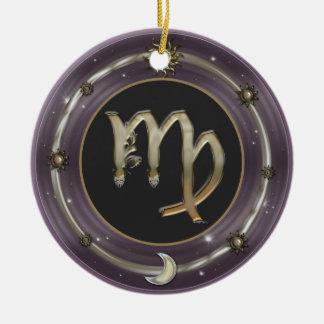 Sinal do zodíaco do Virgo Ornamento De Cerâmica Redondo