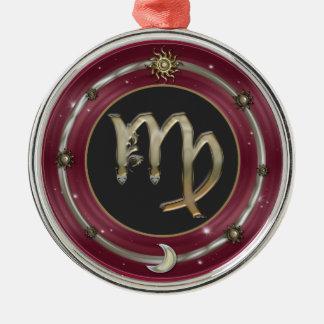 Sinal do zodíaco do Virgo Ornamento Redondo Cor Prata