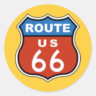 Sinal dos E.U. 66 da rota Adesivo Redondo
