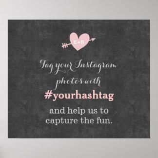Sinal elegante de Hashtag das fotos do casamento Pôster